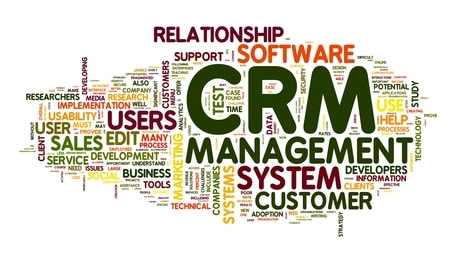 Customer Relationship Management System CRM in word tag cloud